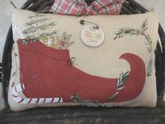 Primitive CHRISTMAS Elf Shoe & Gathering Hand Painted Wall Hanging Pillow Ornie #NaivePrimitive #Idid