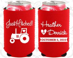 Just Hitched, Neoprene Wedding, Tractor, Country Rustic, Rustic, Barn Wedding, Neoprene Wedding Favors (82)