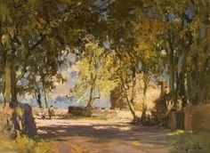 Route ombragée et Shepherd de William Bradley Lamond (1857-1924, United Kingdom)