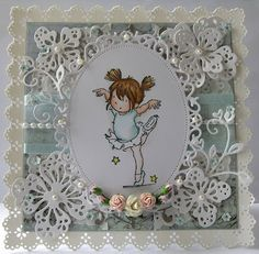 Handmade card. using lili of the valley stamp - Danity dancing. Hand crafted by Klare Chambers