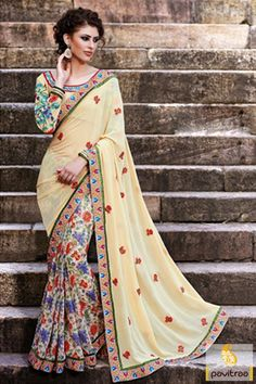 The cream georgette chiffon embroidery designer collection saree looks absolutely stunning with lace work,printed flower work and multi thread embroidery work .