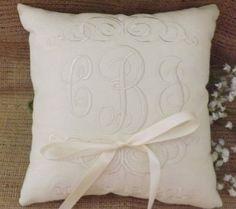 Ring Bearer Pillow, Mr & Mrs. Ring Pillow, wedding pillow, embroidery, monogram, custom. personalized, ring bearer pillows on Etsy, $32.95