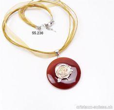Collier donut Cornaline foncée 4 cm avec Suspend ROSE argent 925 Pièce unique Rose, Unique, Earrings, Jewelry, Carnelian, Crystals, Ears, Boucle D'oreille, Necklaces