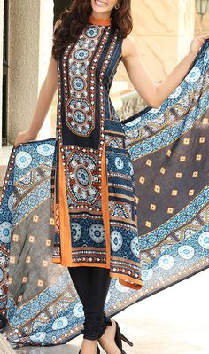 Buy Black Printed Cotton Lawn Dress by Firdous Love Spring Collection 2015.