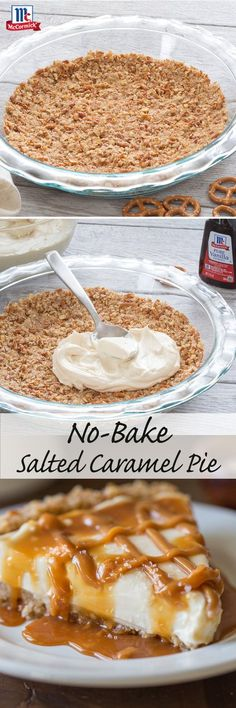 Caramel + pretzel crust + sea salt = the makings of a dream summer dessert. Start with an easy, no-bake crust of crushed pretzels, butter and sugar. Fill pie with a smooth cream cheese and caramel filling, then let it set in the fridge. Drizzle with additional caramel, a pinch of sea salt and dig in to this easy no-bake dessert recipe.