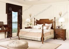 American style solid wood double soft bed .hand caved brown special headboard.www.ekarfurnitures.com.