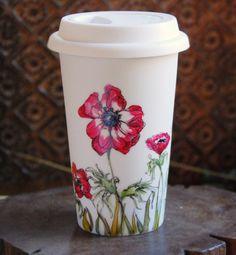 Ceramic  Travel Mug  Anemonies Botanical Collection by yevgenia, $45.00
