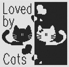 Loved by cats - free cross stitch pattern