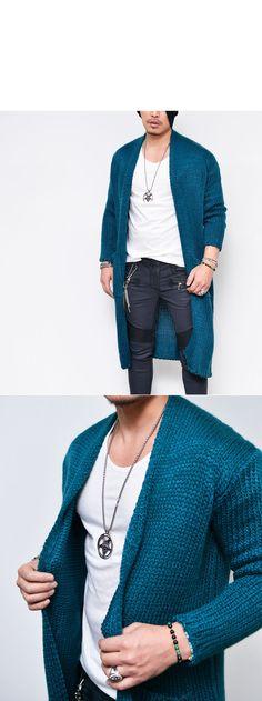 Chunky Knit Open Long Sweater-Cardigan 160 - GUYLOOK