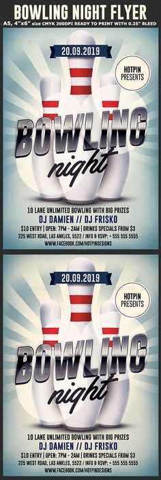 Bowling Tournament Flyer Psd templates, Template and Typo - bowling flyer template