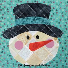 Patchwork Snowman block by A Quilt and A Prayer: pattern by Shabby Fabrics