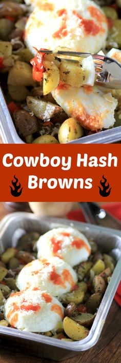 Cowboy Hash Browns by Noshing With The Nolands - An easy campfire breakfast with tender #littlepotatoes and poached eggs
