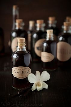 Homemade Vanilla Extract (cheaper than store bought). One of the better posts about making vanilla extract. Do It Yourself Food, Homemade Vanilla Extract, Liqueur, Perfume, Cacao, Food Gifts, Diy Food, Homemade Gifts, Diy Gifts