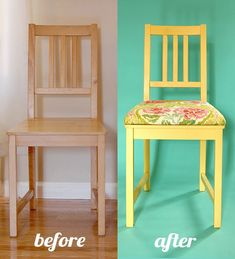 Tutorial: add upholstery to chairs. Cut MDF board to size, lay on chair, drill four holes through board and seat. Take board off seat and put carriage bolts Through board. Glue on foam (already cut to size), staple on fabric, and attach to chair. Upcycled Furniture, Furniture Projects, Furniture Making, Furniture Makeover, Diy Furniture, Furniture Design, Wooden Chair Makeover, Plywood Furniture, Furniture Stores