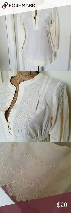 "🆕260)Embroidered pale yellow/cream blouse I've looked at this under every light and I can't tell if you would call it a cream or a super pale faded looking yellow, regardless it's beautiful!! Laid flat measures approximately 20"" from armpit to armpit & 27: from the shoulder seam to the hem....tu16.... Joie Tops"