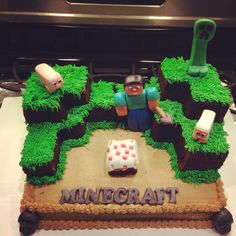 Minecraft cake... AWESOME! I'm so copying this cake! Boy Birthday, Happy Birthday, Birthday Parties, Kid Parties, Birthday Stuff, Birthday Cakes, Birthday Ideas, Minecraft Cake, Minecraft Party