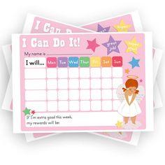 Girls Reward Chart. Chore Chart. Printable. Sticker Chart. PDF. DOWNLOAD and PRINT.