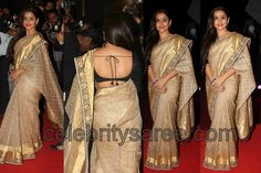 Saree Blouse Patterns: Vidya Balan in Raw Silk Sabyasachi Saree