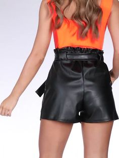 Buy Black Tie Belt Paper Bag Shorts online now from Quiz. Leather Shorts Outfit, Leather Pants, Beste Jeans, Hollywood Model, Short Models, Model Outfits, Lederhosen, Rain Wear, Jumpsuit Dress