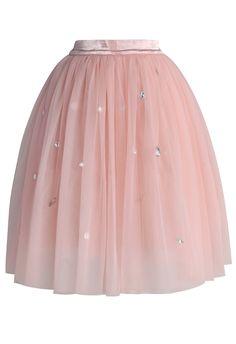 Diamonds in My Heart Pink Tulle Skirt