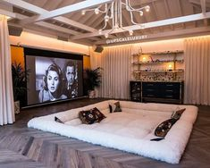 Home Cinema Room, Home Theater Rooms, Home Theater Design, Home Room Design, Dream Home Design, Modern House Design, Home Interior Design, Luxury Home Designs, Diy Movie Theater Room