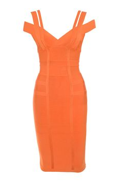 Clothing : Bandage Dresses : 'Mimi' Orange Off Shoulder Bandage Dress