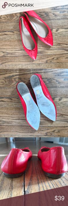 J.Crew Gemma Red Leather Pointed-Toe Flats Leather upper, lining and sole. Toes are slightly scuffed and bottoms show wear, see photos- priced accordingly. Gently used, worn a handful of times. No box, as is as shown in photos. J. Crew Shoes Flats & Loafers