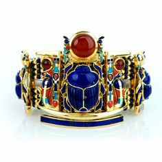 Vintage Egyptian Scarab 18K Gold Lapis Coral Turquoise Bracelet - unique jewelry