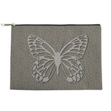 Chic Grey Butterfly Textured Makeup Pouch