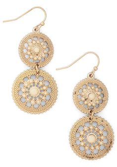 Shine is of the Essence Earrings - Cream, Solid, Tiered, Gold, Vintage Inspired