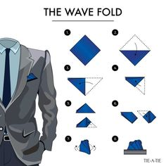 """Instructions for the """"Wave Fold"""" Thanks to http://Tie-a-Tie.net. Click image for more detailed pocket square folding instructions."""