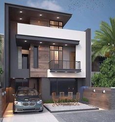 Charming Minimalist House Plan Ideas That You Can Make Inspiration is part of Minimalist house design - Contemporary house plans call for clean, smooth surfaces and an uncluttered appearance Contemporary flair is minimalist in design and features […] Bungalow Haus Design, Duplex House Design, House Front Design, Small House Design, Modern Exterior House Designs, Modern Architecture House, Modern House Design, Amazing Architecture, Small Modern Houses