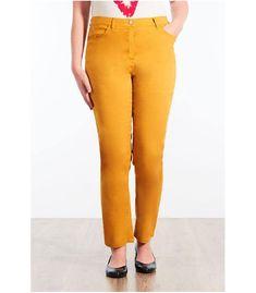 19bfde79584e8 Pantalon grande taille Persona by Marina Rinaldi en lin coton jaune