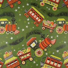 Choo Choo Trains with Presents   Vintage by HolidayKitschklatsch, $7.25