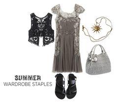 """Top 5 Summer Staples"" by xdarkgothamx ❤ liked on Polyvore featuring moda, Alberta Ferretti, Miu Miu, Anne Klein, Ancient Greek Sandals, American Rag Cie, Summer, summer2015 y summerstaples"