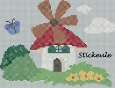 windmill Free Cross Stitch Pattern Chart