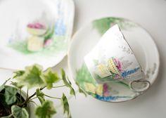 英国の格式高きお庭の風景を描写したようなモチーフ 色付けは全て手作業で施された手間暇かけられた一品  シェリー/Shelley フラワーガーデン コーヒーカップ&ソーサー&プレート(トリオ)3点セット