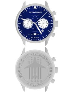 Wingman Watch, Co. » C-17.Wingman Watch, Co. » This watch is from our first Squadrons Customized Watch Campaign and was designed as an airframe specific watch for the C-17 community with a widely recognized logo and customized call sign engraved on the back.