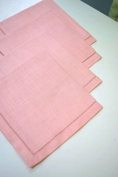 """Set of 4 Lovely Soft Pink Linen Napkins with Fagotted Stitching - Perfect for tea! - 11.5"""" Square"""