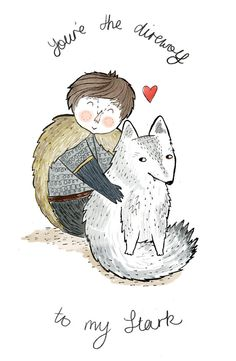 Greeting card/mini print - Game of Thrones  Stark Valentine. $6.50, via Etsy.