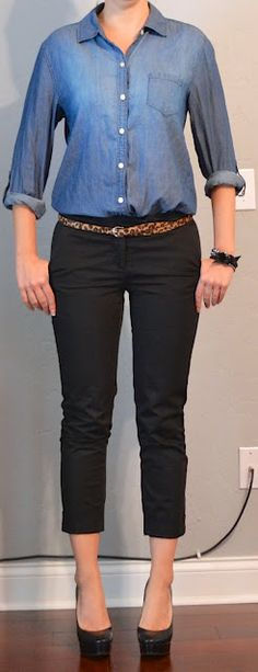 Outfit Posts: chambray shirt, black cropped pants, leopard belt