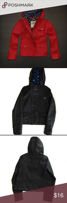 Hollister Rain Jacket Good condition rain jacket | Size small | Color: Navy | First image it's not the actual item, same jacket but in red. Hollister Jackets & Coats