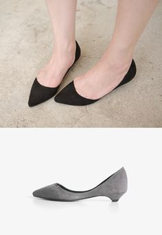 Add some drama and color to your office outfit with these pointed toe suede shoes. Wear these shoes with a Breton striped t-shirt, white slim fit pants, and a quilted black bag. - Textured shell - Low rise heels - Flat soles - Padded insoles - Colors: Black, Gray