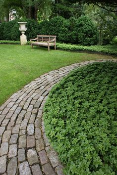 Ground cover + brick = tidy and rustic at the same time!