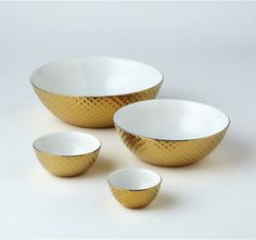 Diamond Cut Nesting Bowls-Gold