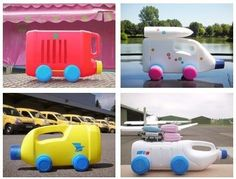 Recycled plastic bottles into cars and trucks craft-ideas Reuse Plastic Bottles, Plastic Bottle Crafts, Recycled Bottles, Empty Bottles, Recycled Glass, Projects For Kids, Diy For Kids, Crafts For Kids, Craft Projects