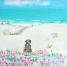 Sea Pinks Small Art Print by Hannah Cole Dog Illustration, Illustrations, Frida Art, Large Art Prints, Cottage Art, Pink Art, Small Art, Beach Art, Seaside Art