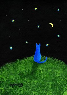 Russian Blue Cat MOON and STARS