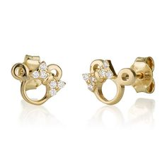 Minnie Mouse Baby 14k Gold Earrings
