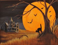 Full Moon Bats Black Cat Shadows Haunted House Bats Halloween Original Painting #Realism